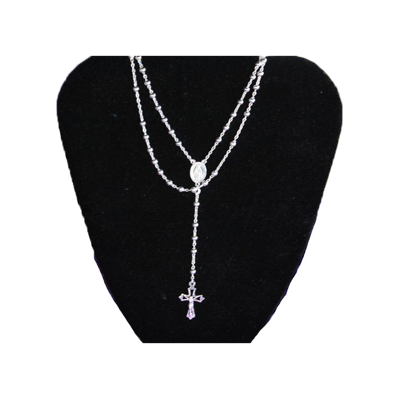 "Sterling Silver Rosary 24"" Length"