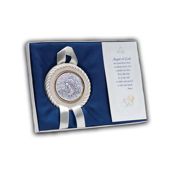Suede Sterling Silver Crib Medal-14972