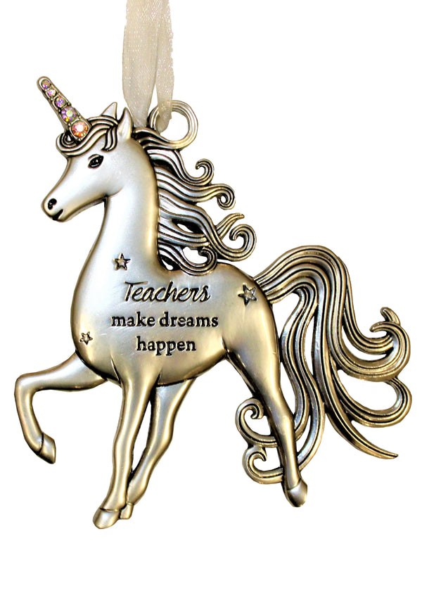 """Teachers Make Dreams Happen,"" Pewter Unicorn Ornament"
