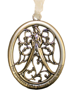 "Angel Pewter Ornament, ""The Brightest Light Shine From Within."""
