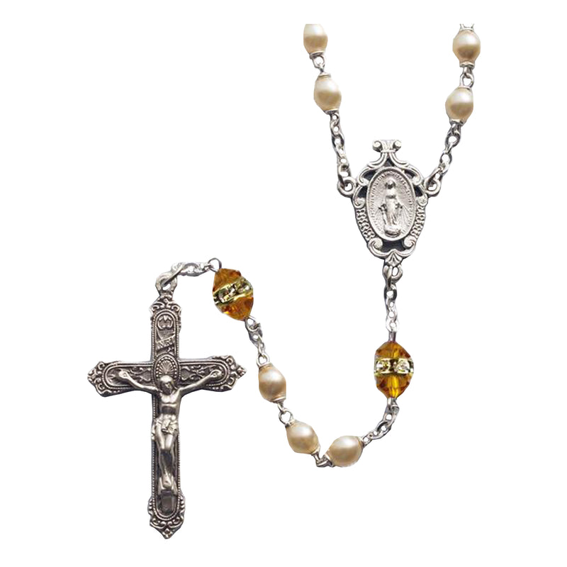 Birthstone Pearl and Rondelle Rosaries