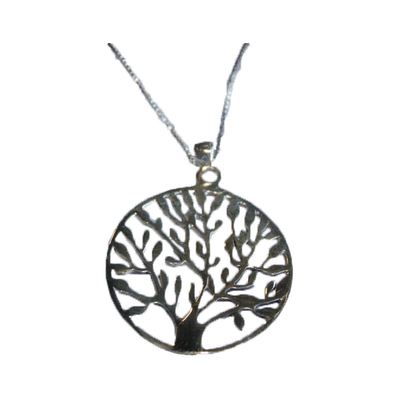"1.25"" Round Sterling Silver Tree of Life 18"" Chain"
