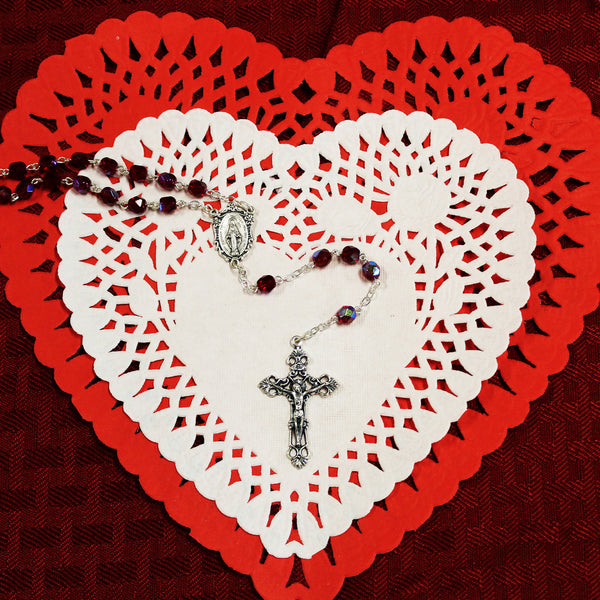 Sterling Silver Ruby Red Rosary
