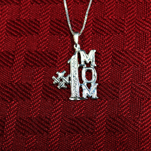 "Sterling Silver ""#1 Mom"" Pendant With Necklace"