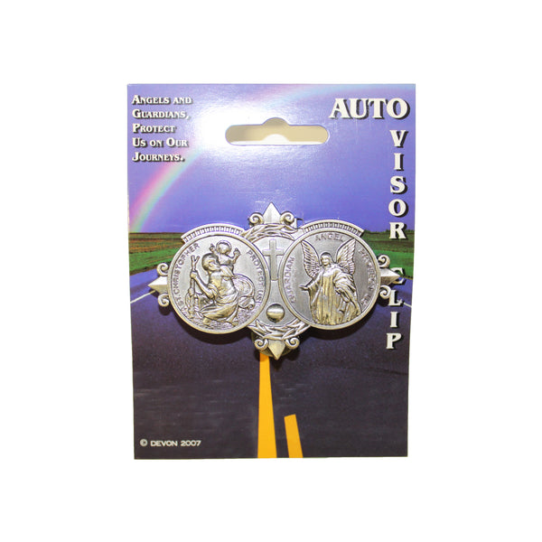 St. Christopher & The Guardian Angel Visor Clip