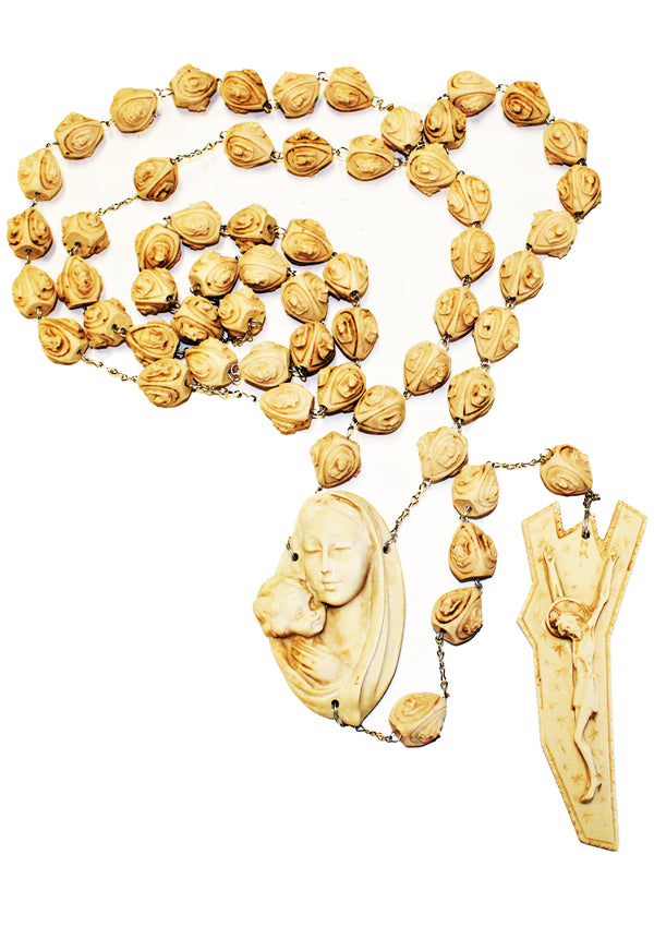 Alabaster Rose Large Wall Rosary