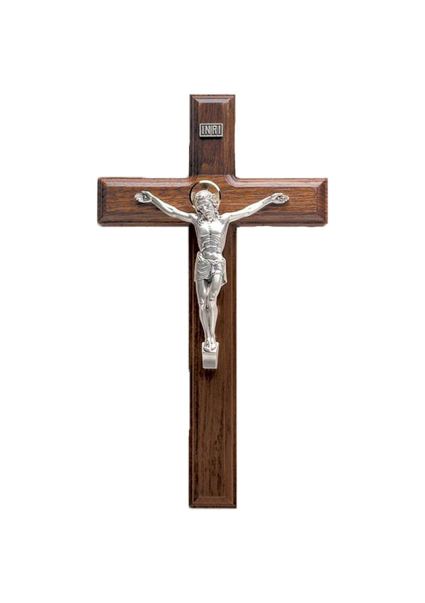 11in. Walnut Crucifix with Beveled Edges and Salerni Corpus