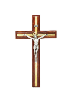 9in. Walnut Crucifix with Brass Inlay