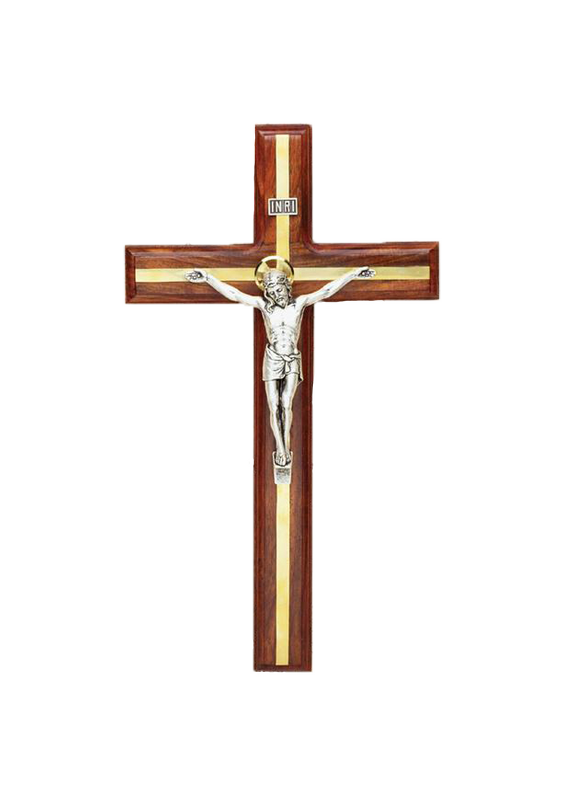 12in. Walnut Crucifix with Brass Inlay