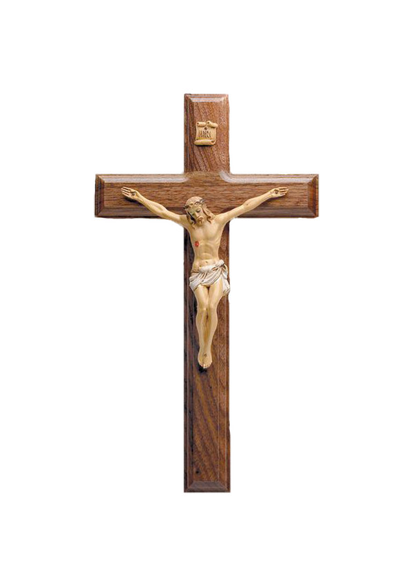 11in. Walnut Beveled Crucifix with Hand-painted Corpus