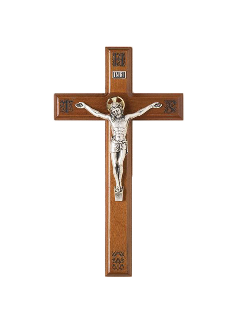 11in. Walnut Crucifix with Laser-engraved Pattern