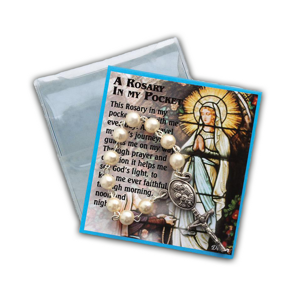 White Rosary Chaplet Prayer Folder-83/CHP/WH