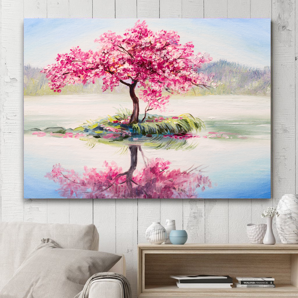 Cherry Blossom on the Lake Oil Canvas Print