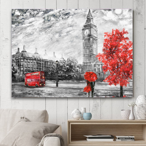 London In the Red Rain Oil Paint Canvas Print