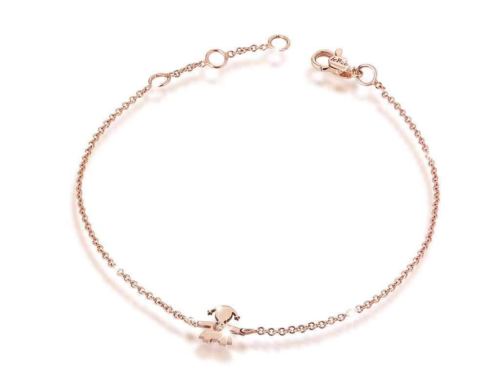 Rose Gold Bracelet, Girl Silhouette with Single Diamond or Diamond ...