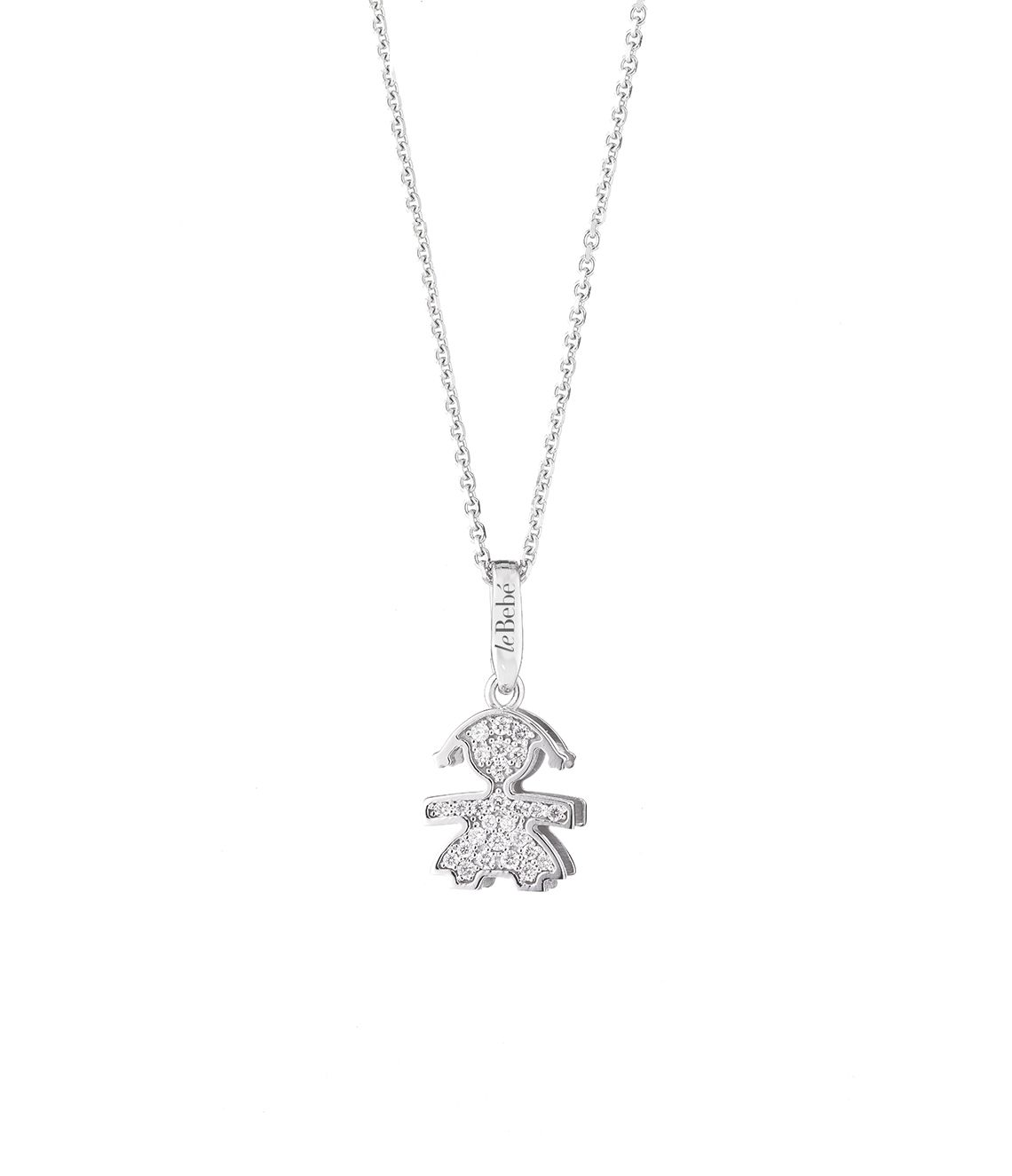 Diamond Pave Girl Mini Silhouette Pendant On Gold Chain For Mom Le Bebe Jewelry