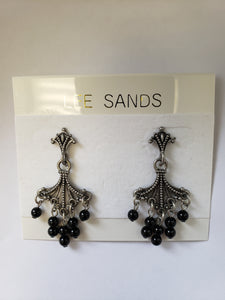 Lee Sands Chandelier 5-drop Lapis/Garnet/OnyxEarrings