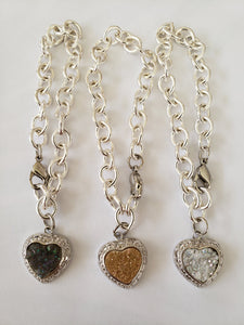 Lee Sands Silver - Tone Oval Chain Druzy Heart Bracelet