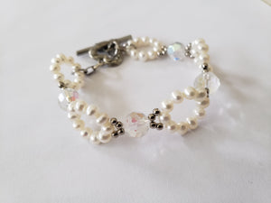 Lee Sands Pearl and Crystal Heart Tuggle Bracelet
