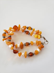 Lee Sands Amber and Pearl Double-Strand Bracelet