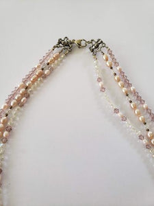Lee Sands 3-Strand Pearl/Glass Necklace