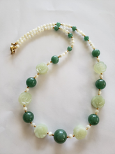 Lee Sands Prhnite, Green Aventurine and Mother of Pearl Necklace