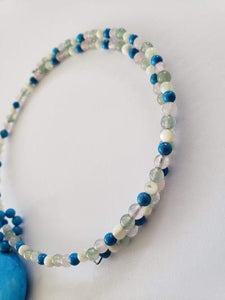 Lee Sands Multi-Stone & Blue Howlite Coil Necklace