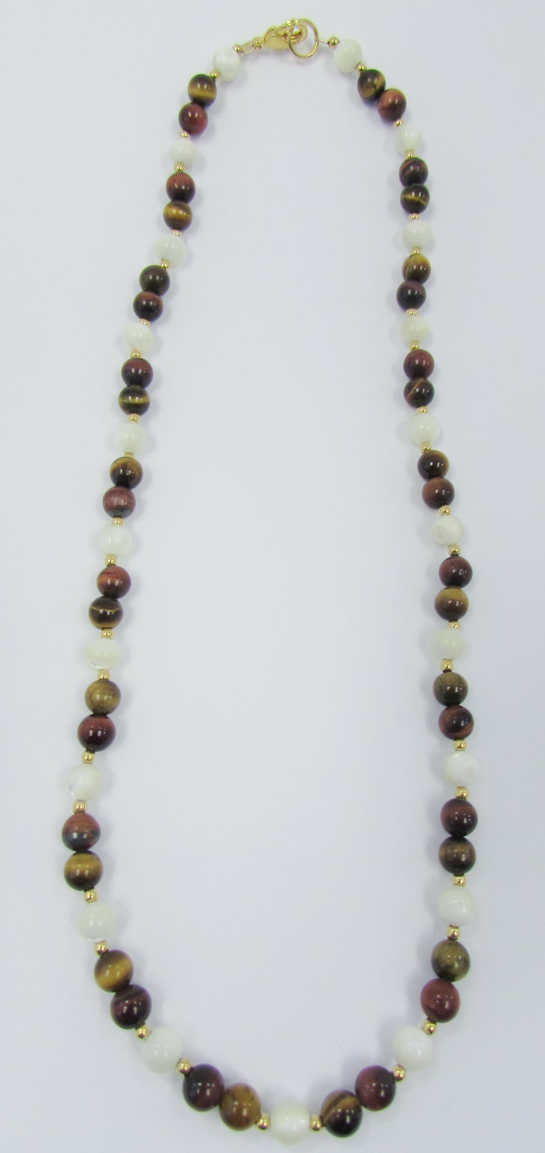 Lee Sands 6mm Tiger's Eye & Mother of Pearl Necklace