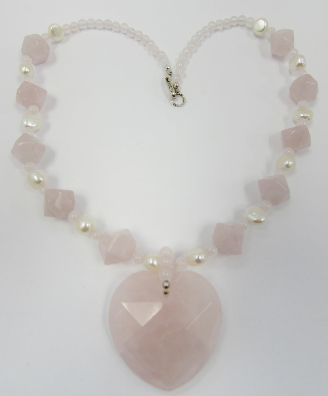 Lee Sands Faceted Rose Quartz Heart w Pearls Necklace