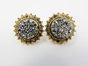 Lee Sands set of 2 Gold and Silver Druzy Earrings w Rhinestone Jacket