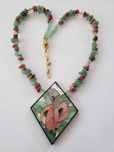 Lee Sands Green Aventurine & Rhodonite Flower Inlaid Necklace