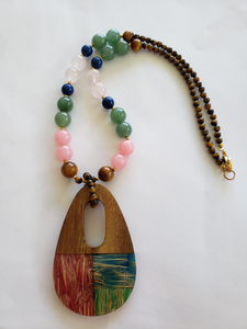 Lee Sands Multi-Stone & Wood Necklace