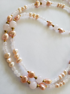 Lee Sands Pearl & Rose Quartz Gold-tone Long Necklace
