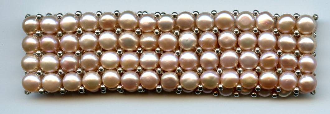 Lee Sands Quad row Champagne Pearl stretch Bracelet s/s