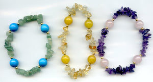 Lee Sands set of 3 Melti Gemstone Stretch Bracelets