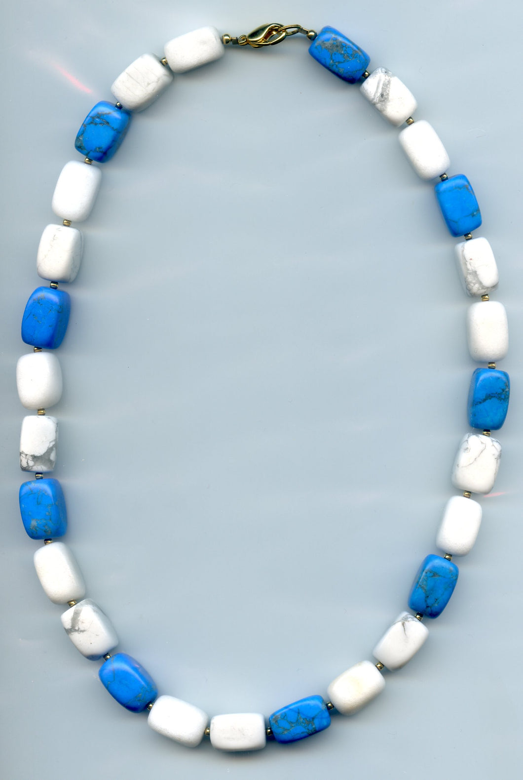 Lee Sands Freeform White & Blue Howlite Nugget Necklace