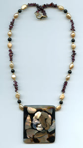 Lee Sands Abstract Tiger Inlaid Necklace