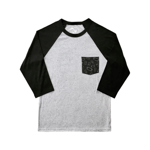 Handhelds Pocket Raglan White with Charcoal Sleeves