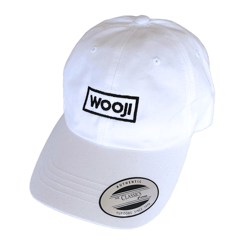 wooji box logo dad hat white