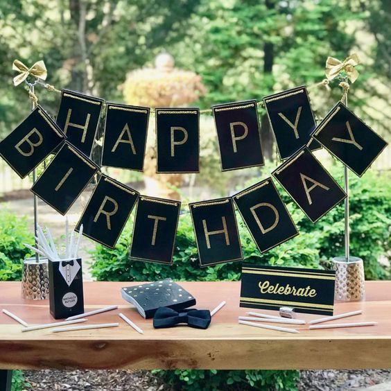 adult birthday table centerpiece banner