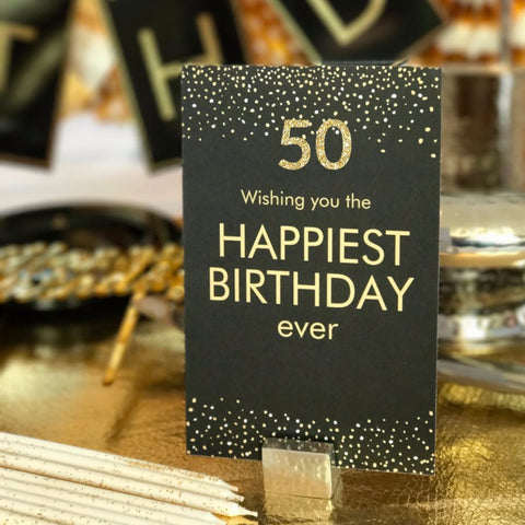 50th birthday card black gold decorations