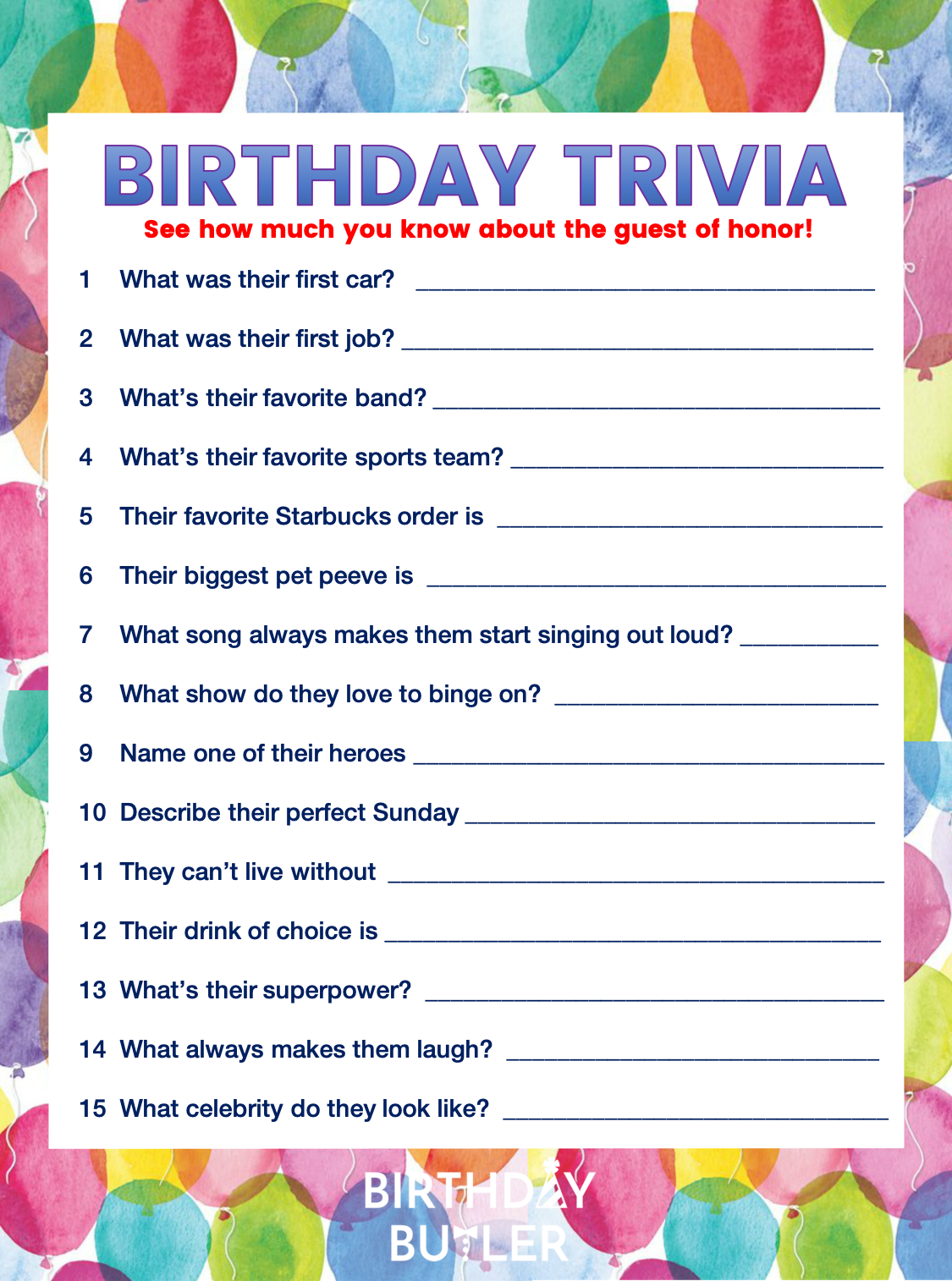 graphic regarding Printable Trivia for Seniors named Increase OOMPH! Towards YOUR Get together WITH BIRTHDAY TRIVIA Birthday Butler