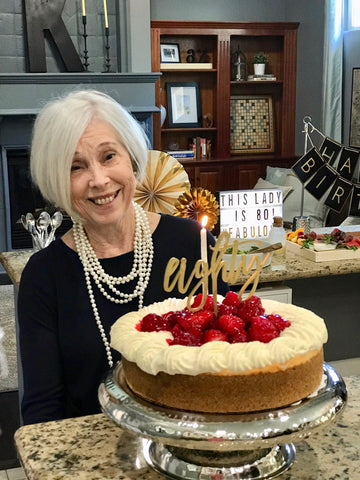 80th birthday girl celebrating