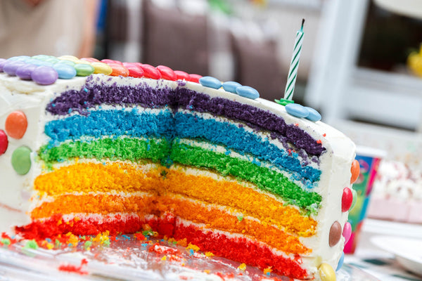 Rainbow birthday cake for his birthday or her birthday