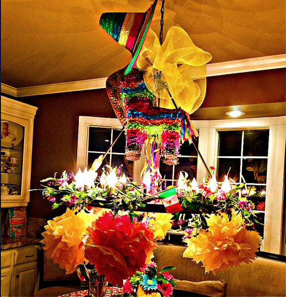 Mexican themed chandelier for birthday party- Birthday Butler