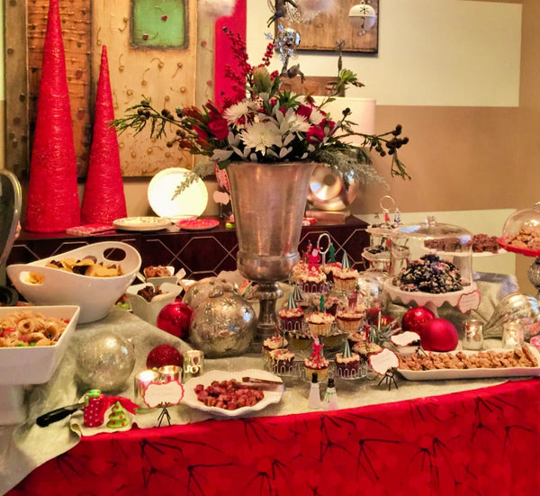A large Christmas centerpiece looks great on a buffet table