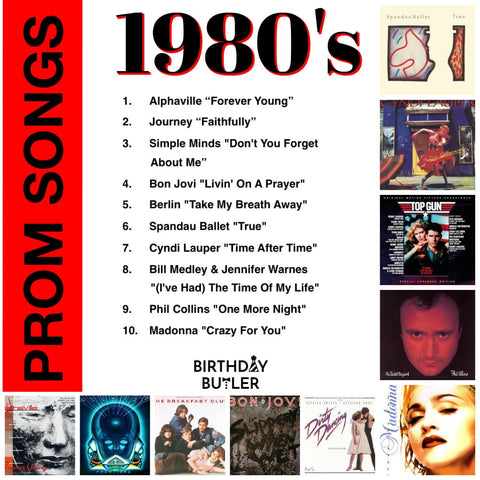 Playlist for a 50th birthday party - prom songs from the 80's