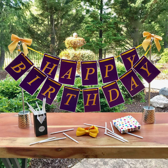 purple gold birthday banner decoration for her 50th birthday