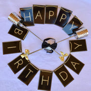 contemporary black and gold decoration birthday banner