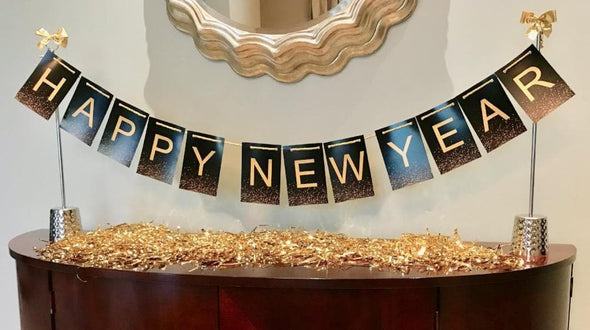 Fabulous New Year Centerpiece for Table Bar Gold Black banner